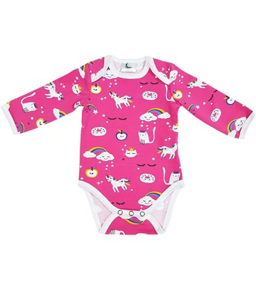 Picture of Baby body long sleeve - Rainbow and unicorns