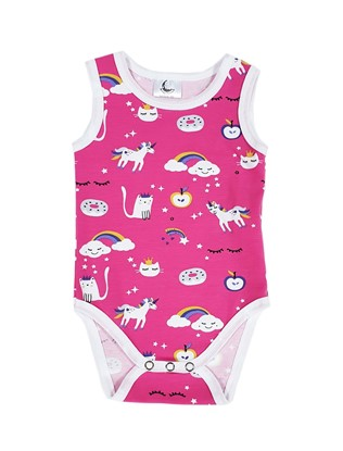 Picture of Baby body - no sleeves - Pink unicorn