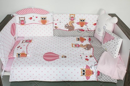 Picture of 9 pieces Baby bedding(+ gratis pillow cover) - Owls pink
