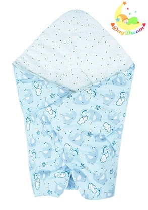 Picture of Cotton  carrier  blankets 2 in 1 - Blue elephant