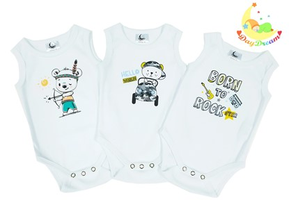 Picture of Baby body set 3/1 - no sleeves - For boys