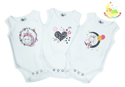 Picture of Baby body set 3/1 - no sleeves - For girls