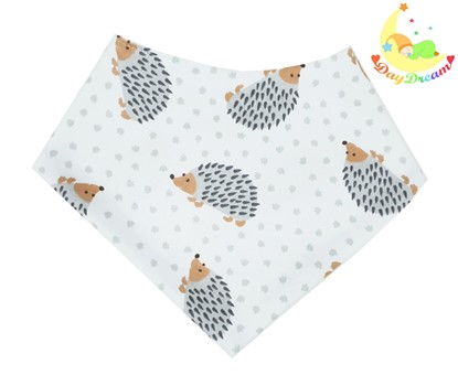 Picture of Baby scarf bib -  Grey hedgehogs