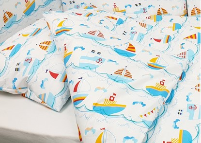Picture of 2 pieces bedding for bed size 200x90cm - Boats