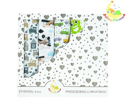 Picture of Children nappy 100% cotton - 5 pcs set - Frogs and airplanes