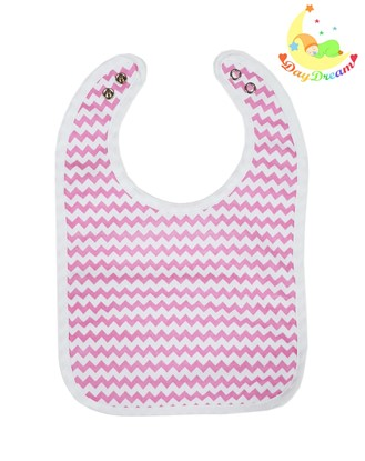 Picture of Baby bib with waterproof lining  - Pink zig-zag