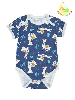 Picture of Baby body short sleeves - Llama - blue