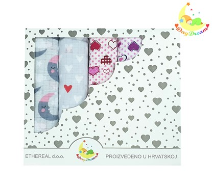 Picture of Children nappy 100% cotton - 5 pcs set - Moon and hearts