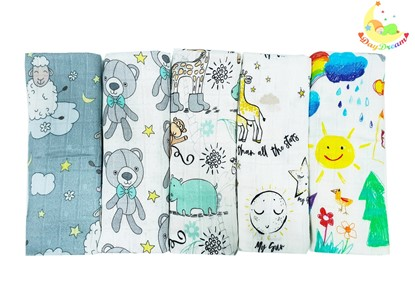 Picture of Children swaddle blanket 100% bamboo, 5pcs set - Neutral