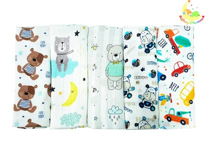 Picture of Children swaddle blanket 100% bamboo, 5pcs set - For boys