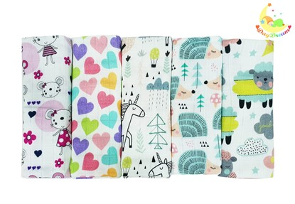 Picture of Children swaddle blanket 100% bamboo, 5pcs set - For girls