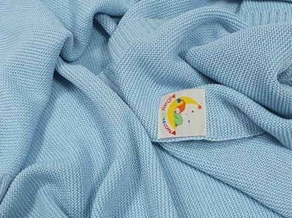 Picture of Merino knitted blanket 100x80cm - Sky blue