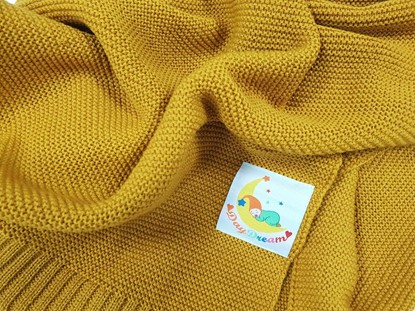 Picture of Merino knitted blanket 100x80cm - Yellow