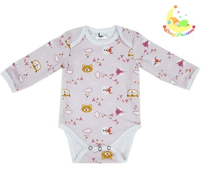 Picture of Baby body long sleeve - Pink teddy