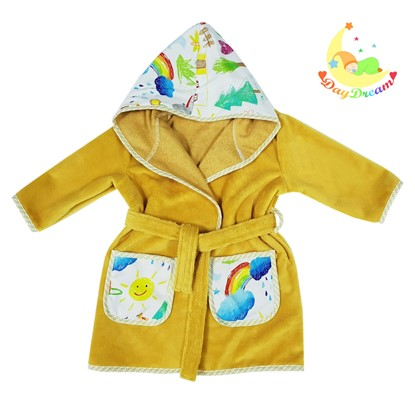 Picture of Baby bathrobe - 110/116 - Kids drawing - Yellow