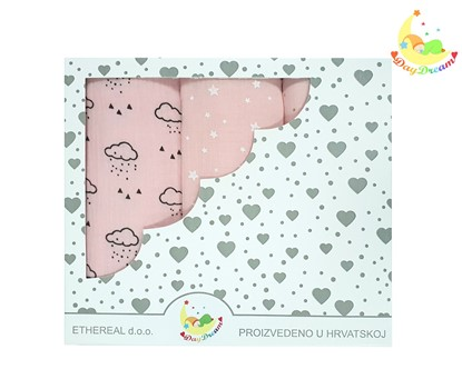 Picture of Premium children nappy - muslin 100% cotton - 3 pcs set - Pink clouds