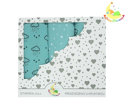Picture of Premium children nappy - muslin 100% cotton - 3 pcs set - Mint clouds