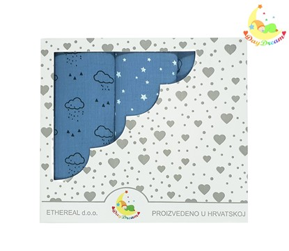 Picture of Premium children nappy - muslin 100% cotton - 3 pcs set - Dark blue clouds