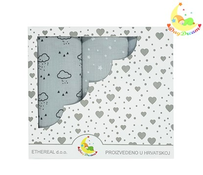 Picture of Premium children nappy - muslin 100% cotton - 3 pcs set - Grey clouds