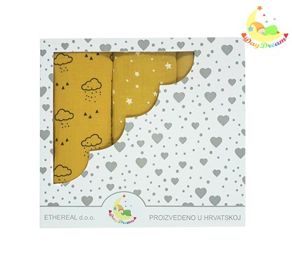 Picture of Premium children nappy - muslin 100% cotton - 3 pcs set - Yellow clouds