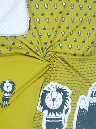 Picture of Premium cotton minky blanket 100x80 - Yellow lion