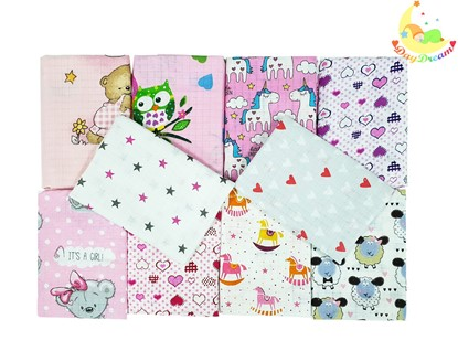 Picture of Children nappy 100% cotton - 10 pcs set - for girls