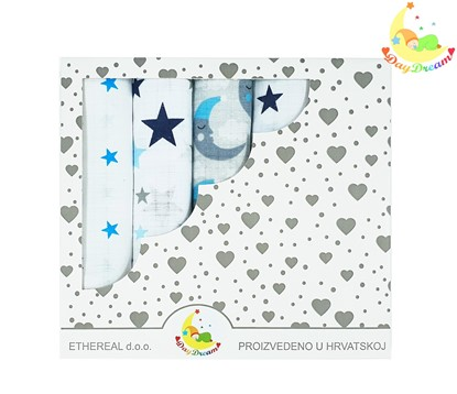 Picture of Children nappy 100% cotton - 5 pcs set - Blue stars