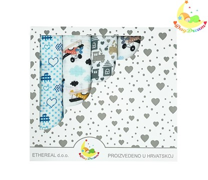 Picture of Children nappy 100% cotton - 5 pcs set - Blue cars and airplanes