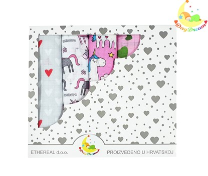 Picture of Children nappy 100% cotton - 5 pcs set - Flamingo and unicorns