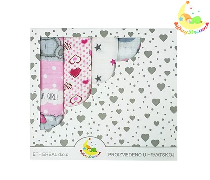 Picture of Children nappy 100% cotton - 5 pcs set - It's a girl