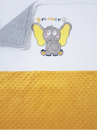 Picture of Warm three layer blanket  -  100 x 80 cm Little elephant