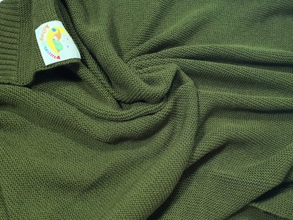 Picture of Merino knitted blanket 100x80cm - Olive green