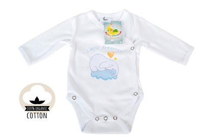 Picture of Side snap baby body - Organic cotton - Little dreamer