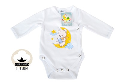 Picture of Side snap baby body - Organic cotton - Teddy on the moon
