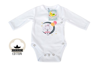 Picture of Side snap baby body - Organic cotton - Lady mouse on the moon