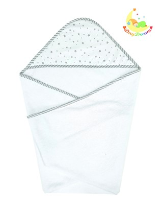 Picture of Cotton hooded towel - 100 x 100 cm - Grey stars