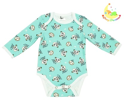 Picture of Baby body long sleeve - Small pandas mint