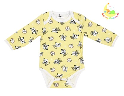 Picture of Baby body long sleeve - Small pandas yellow