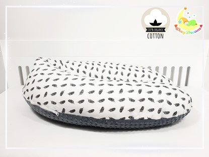 Picture of Nursing pillow cotton+minky - Feathers
