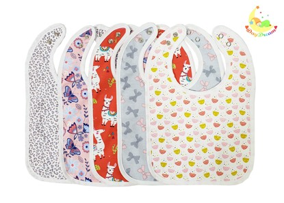 Picture of Set of 5 baby bibs with waterproof lining  - For girls