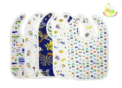 Picture of Set of 5 baby bibs with waterproof lining  - For boys
