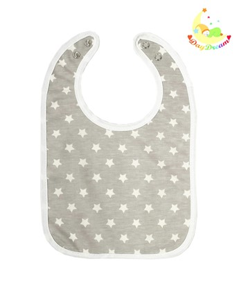 Picture of Baby bib with waterproof lining  - White stars 2