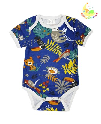 Picture of Baby body short sleeves - Jungle - dark blue