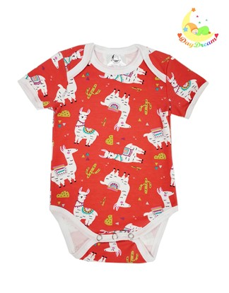 Picture of Baby body short sleeves - Llamas - red