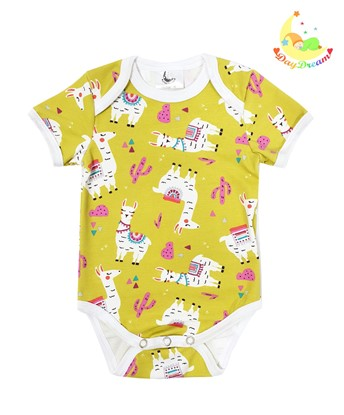 Picture of Baby body short sleeves - Llamas - yellow