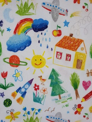 Picture of Baby bib with waterproof lining - Kids drawing