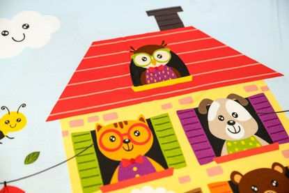 Picture of Premium cotton blanket with digital print - The house of happy animals