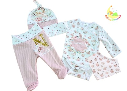 Picture of 4 pieces newborn set  - Destination Happiness + gloves as a gift