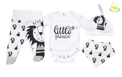 Picture of 4 pieces newborn set  - Little prince + gloves as a gift