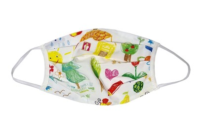 Picture of Cotton washable face mask - Colorful neutral - for adults - assorted motifs